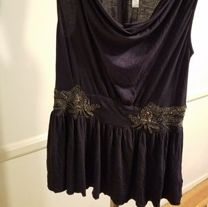 Anthro Black and Gold Beaded Top EUC!
